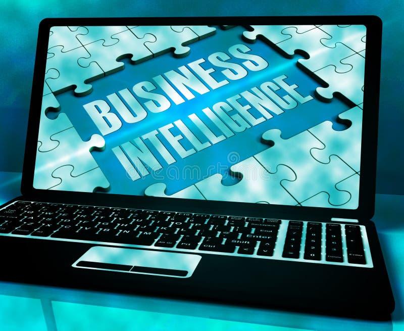 Inteligência empresarial no portátil que mostra recolhendo a informação 3 ilustração stock