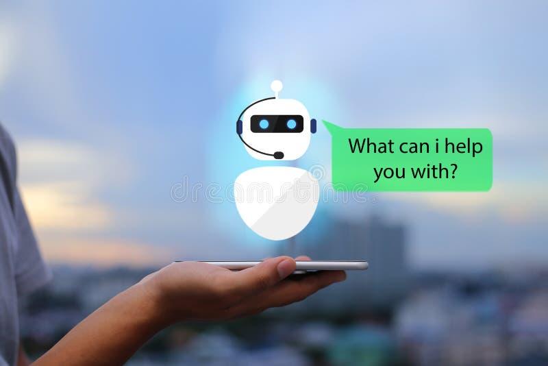 Intelig?ncia artificial, conceito do bot do bate-papo do AI