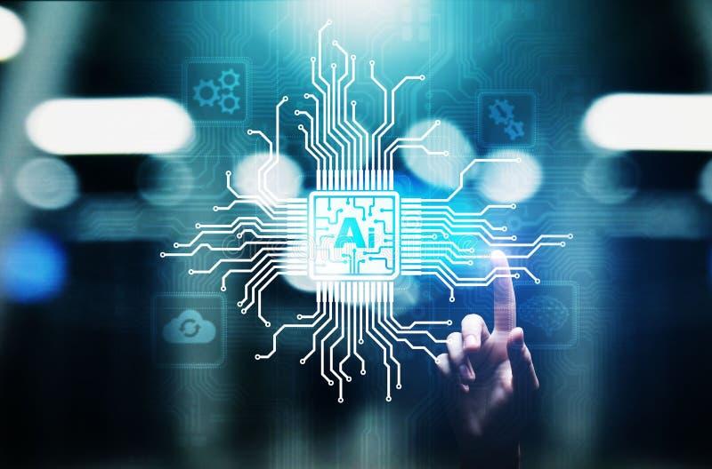 Intelig?ncia artificial do AI, aprendizagem de m?quina, an?lise de dados grande e tecnologia da automatiza??o no neg?cio imagens de stock royalty free