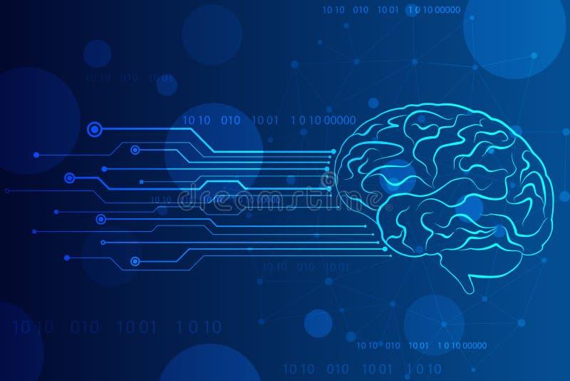 Inteligencia artificial abstracta Fondo de la web de la tecnolog?a, cerebro creativo Ilustraci?n del vector ilustración del vector