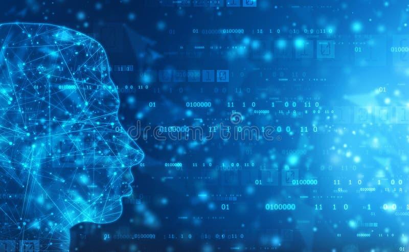 Inteligencia artificial abstracta Fondo del web de la tecnología Esquema de la cabeza humana con códigos binarios ilustración del vector
