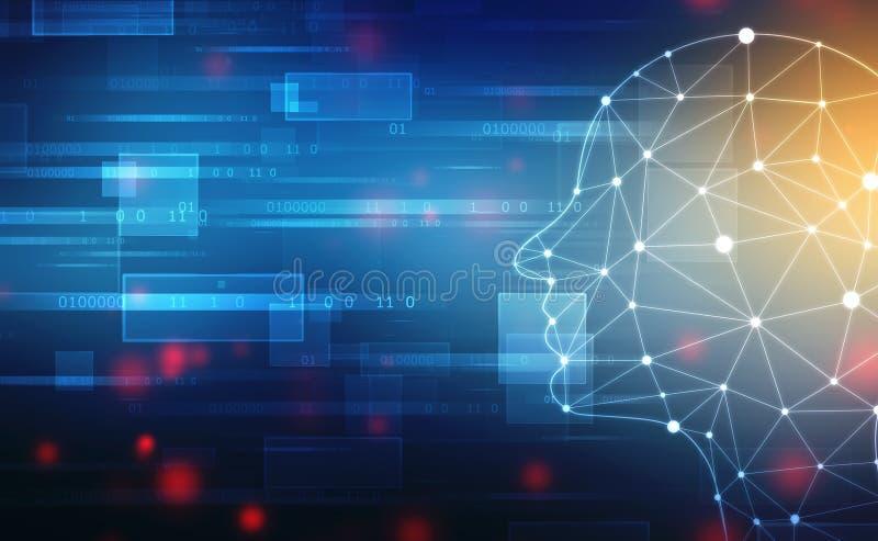 Inteligencia artificial abstracta Fondo del web de la tecnología Esquema de la cabeza humana con códigos binarios imagenes de archivo