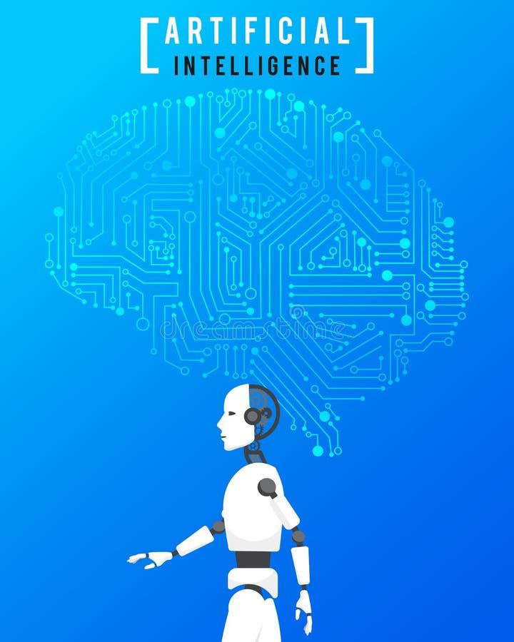 Inteligencia artificial (AI) con alta tecnología en backgr azul stock de ilustración