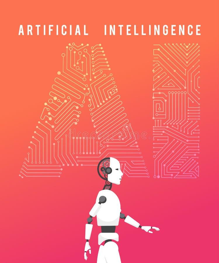 Inteligencia artificial (AI) con el ejemplo de alta tecnología d stock de ilustración