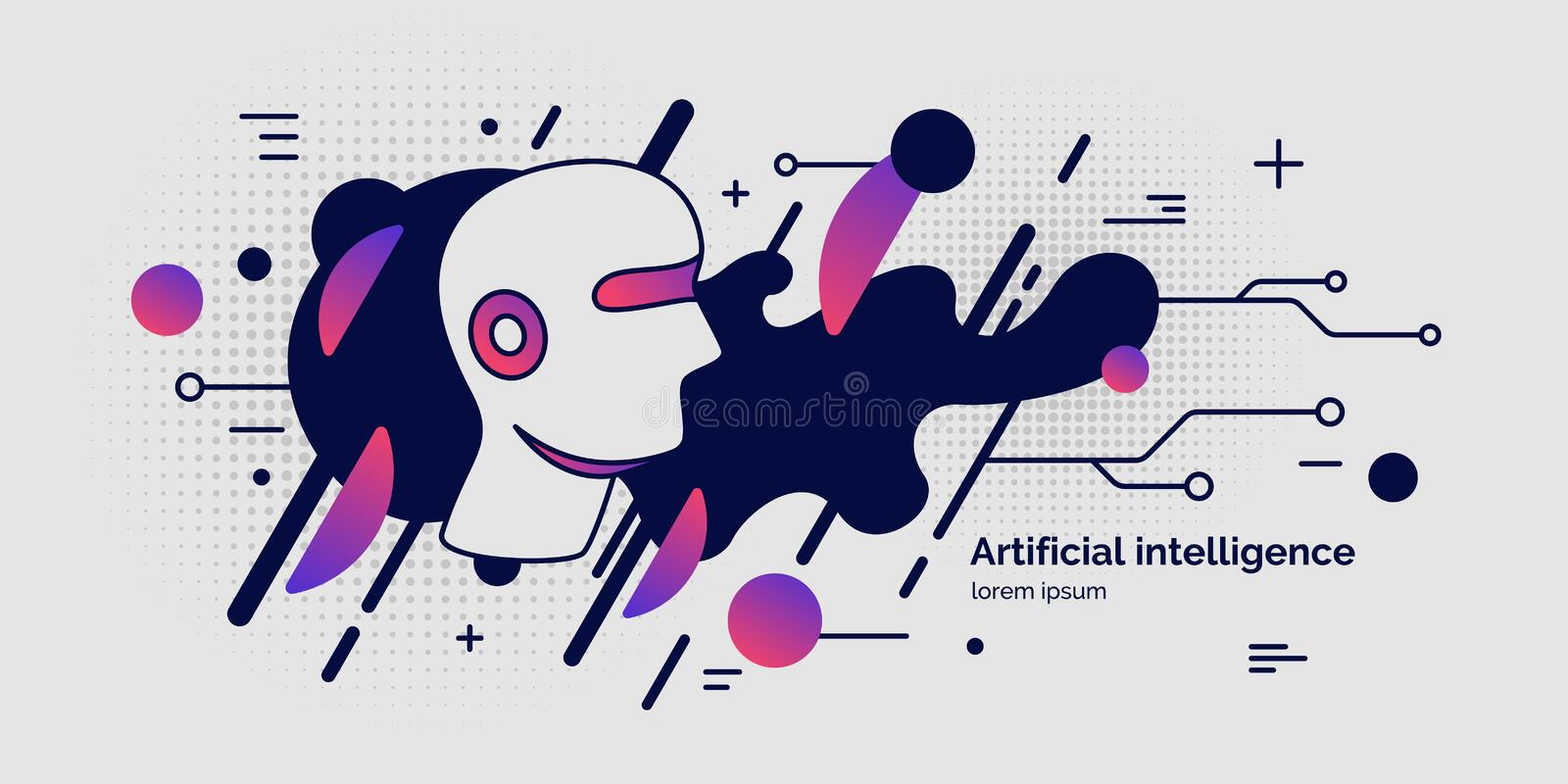 Inteligencia artificial, cartel conceptual El sistema analítico libre illustration