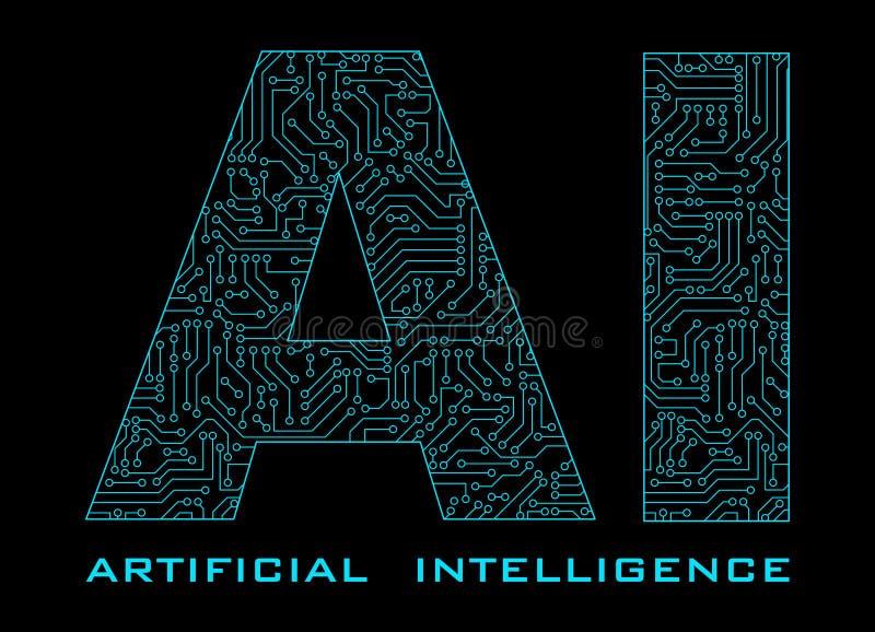 Inteligencia artificial con el circuito azul aislado en la parte posterior del negro stock de ilustración