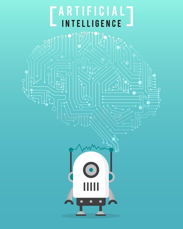Inteligencia artificial con el robot de alta tecnología y moderno stock de ilustración
