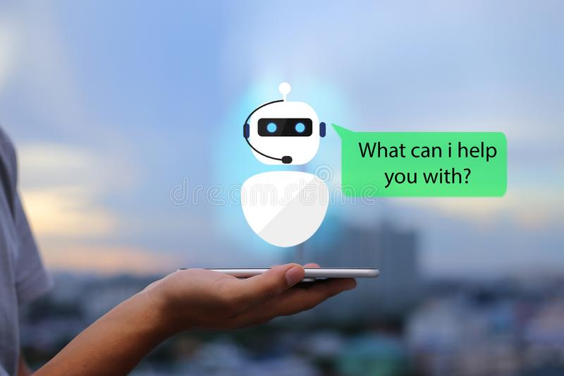 Inteligencia artificial, concepto del bot de la charla del AI