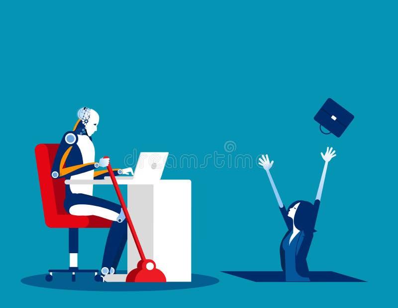 Inteligencia artificial contra inseguridad humana y laboral. Concepto vector de negocio, trabajo, desempleado, despedido ilustración del vector