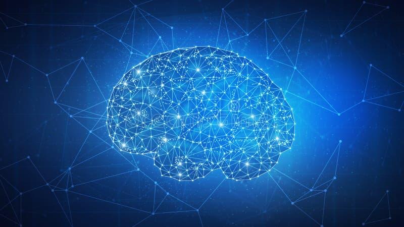 Inteligencia artificial de la tecnología de Blockchain y concepto cibernético del espacio stock de ilustración