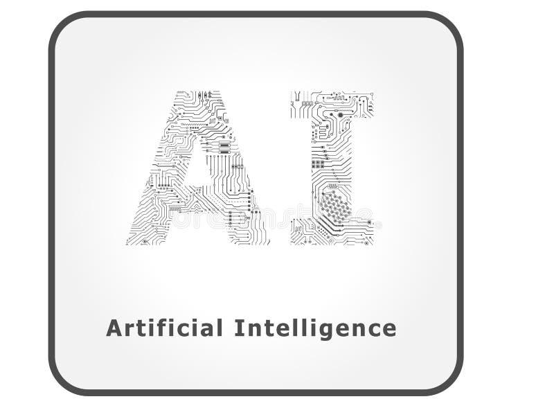 Inteligencia artificial del Ai stock de ilustración