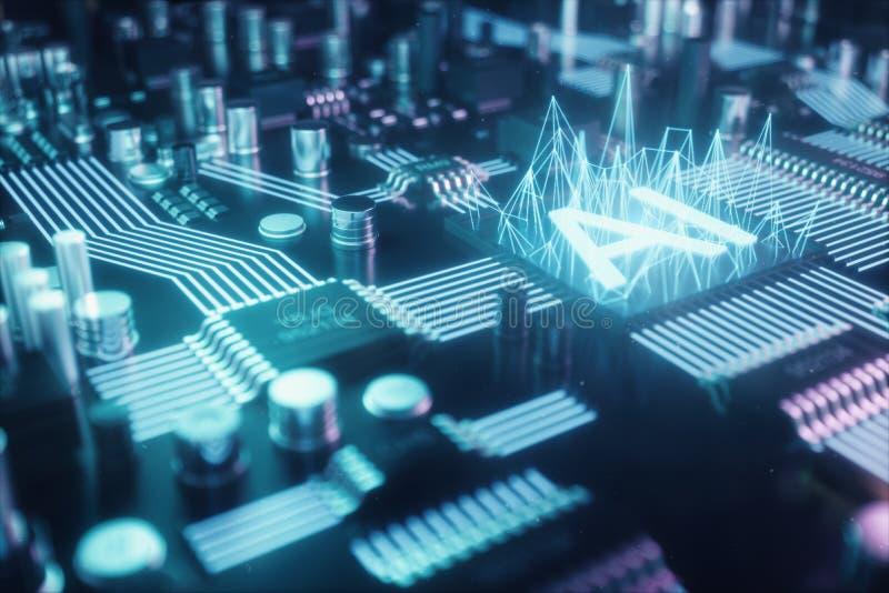 inteligencia artificial del extracto del ejemplo 3D en una placa de circuito impresa Concepto de la tecnología y de la ingeniería stock de ilustración