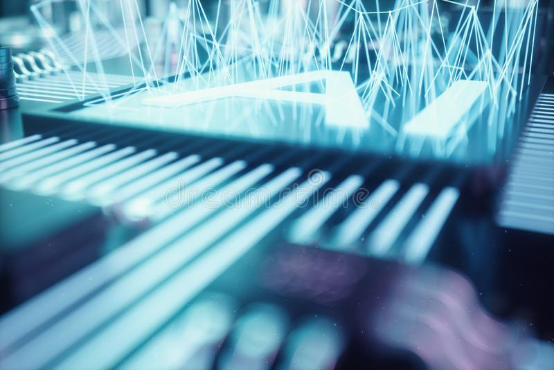inteligencia artificial del extracto del ejemplo 3D en una placa de circuito impresa Concepto de la tecnología y de la ingeniería libre illustration