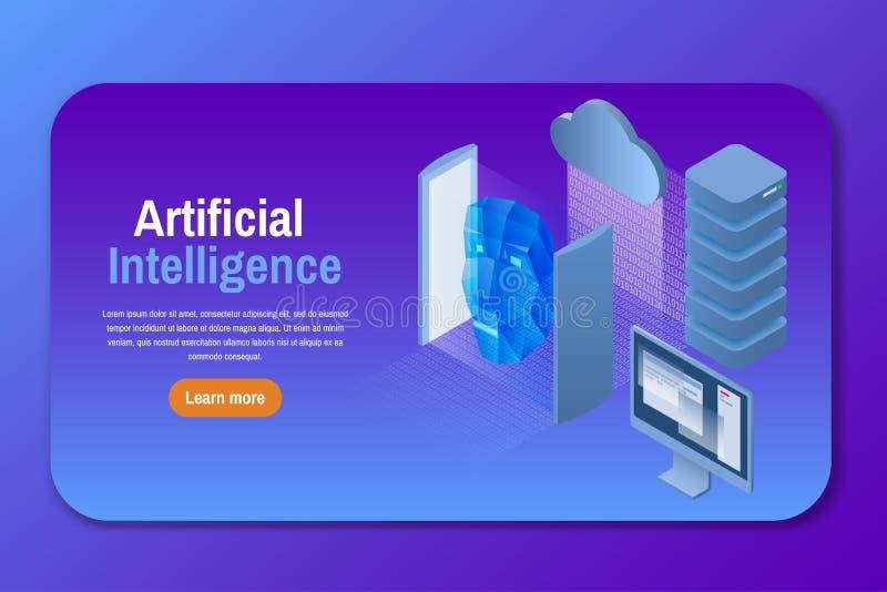 Inteligencia artificial Ejemplo isométrico del vector stock de ilustración