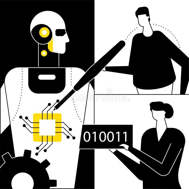 Inteligencia artificial - ejemplo plano del vector del estilo del dise?o stock de ilustración