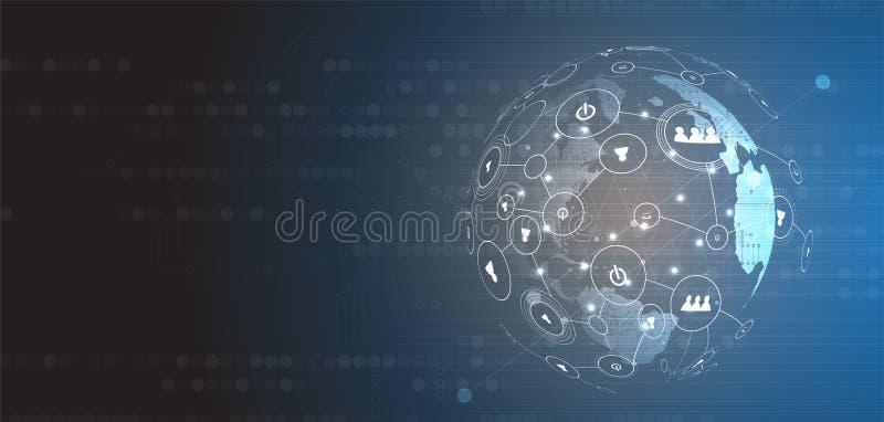 Inteligencia artificial Fondo del web de la tecnología Concentrado virtual libre illustration