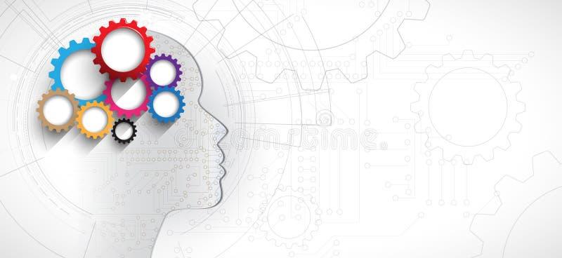 Inteligencia artificial Fondo del web de la tecnología Concentrado virtual stock de ilustración