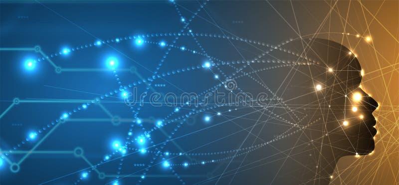 Inteligencia artificial Fondo del web de la tecnología Concentrado virtual ilustración del vector