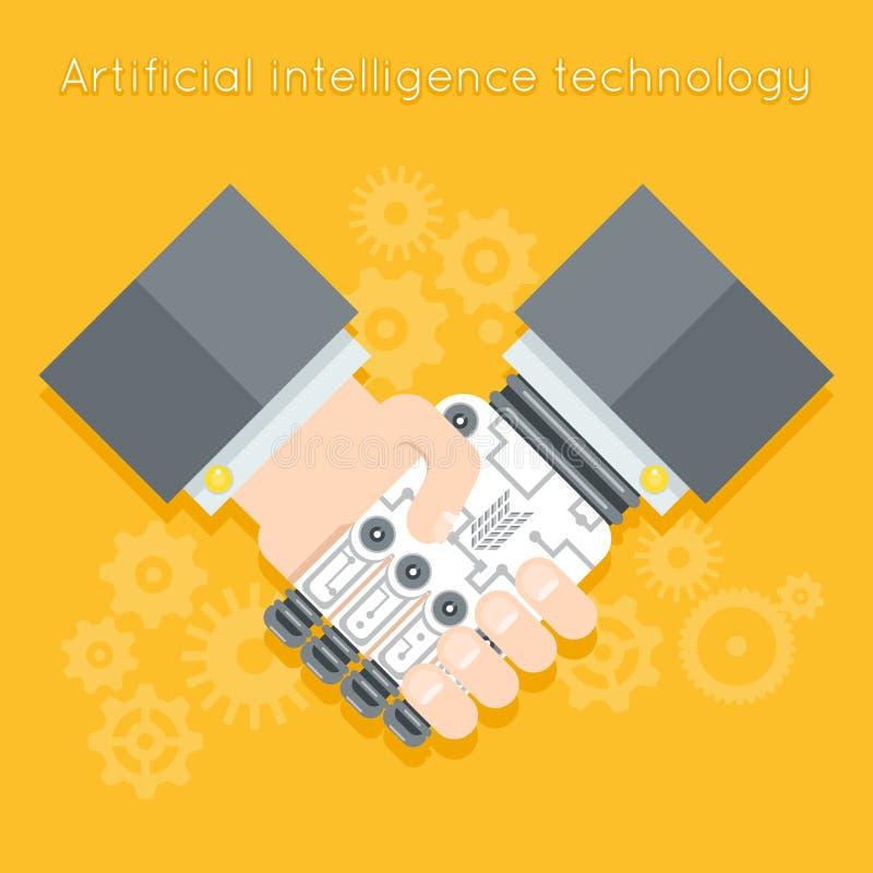 Inteligencia artificial Hombre de negocios y robot stock de ilustración