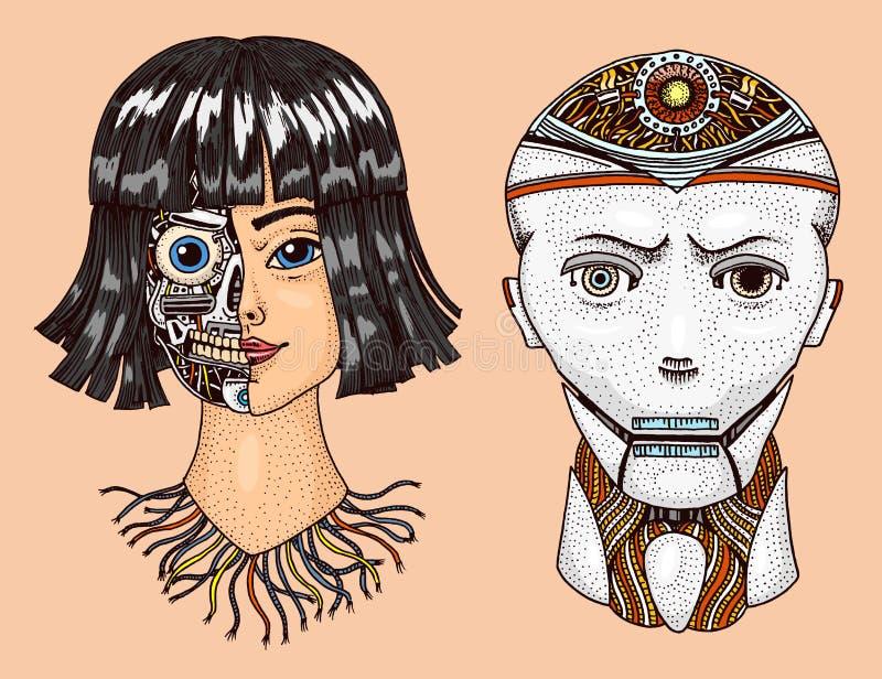 Inteligencia artificial Hombre y mujer con mitad de la cara del robot Replicant o Android Tecnolog?a futura exhausta de la mano ilustración del vector