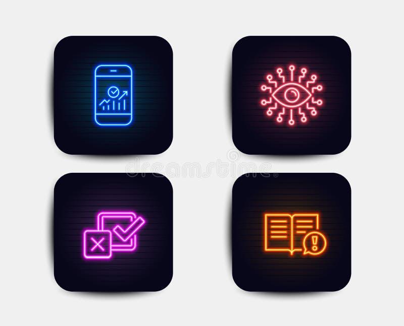 Inteligencia artificial, iconos de las estadísticas del Checkbox y de Smartphone Los hechos firman Vector stock de ilustración