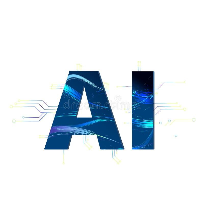Inteligencia artificial Letras del AI Ilustración del vector stock de ilustración
