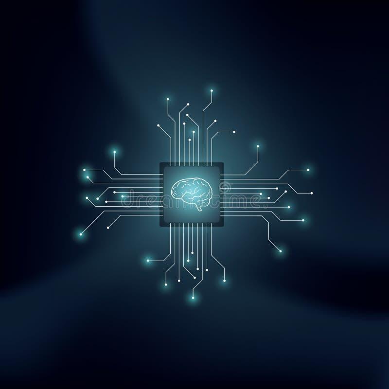 Inteligencia artificial o concepto del vector del AI con el cerebro humano en fondo tecnológico Símbolo del aprendizaje de máquin stock de ilustración