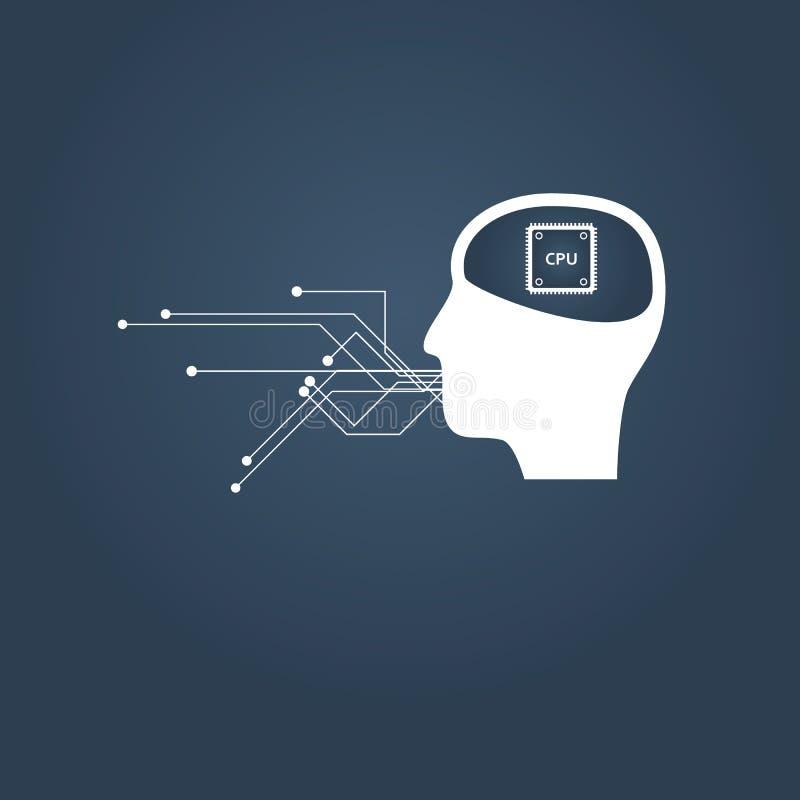 Inteligencia artificial o concepto del vector de la comunicación del AI Cabeza humana con la CPU dentro ilustración del vector