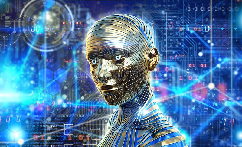 Inteligencia artificial, procesando datos neurológicos, cerebro, reemplazo humano libre illustration