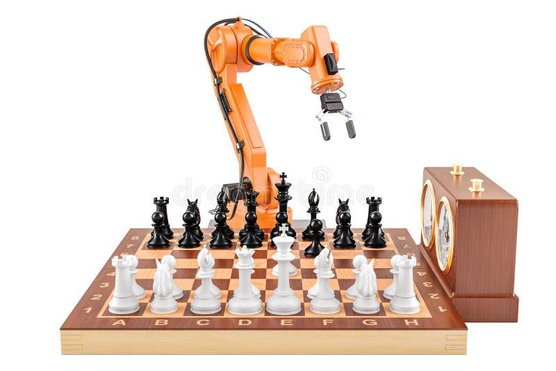 Inteligencia artificial que juega el concepto del ajedrez, representación 3D ilustración del vector