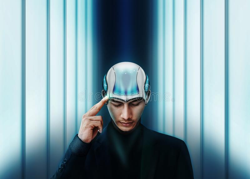 Inteligencia artificial que trabaja así como el concepto humano, autobús foto de archivo