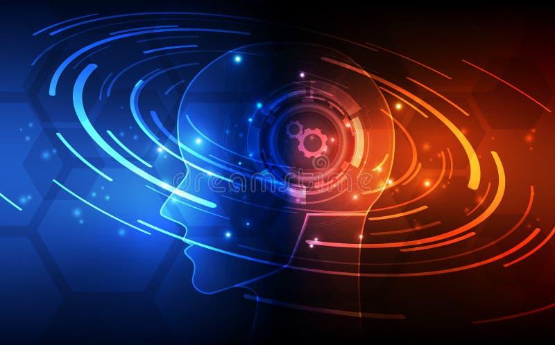 Inteligencia artificial Tecnología digital del AI en futuro Concepto virtual Fondo de la ilustración del vector