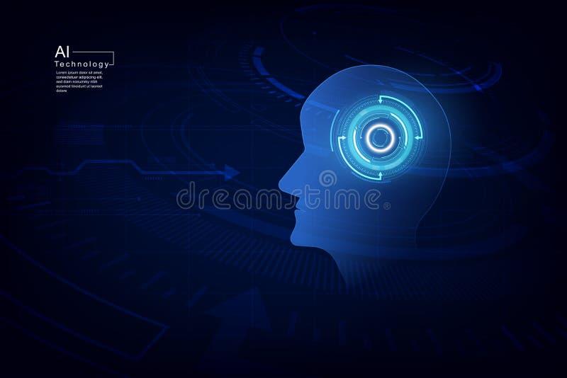 Inteligencia artificial Tecnología digital del AI en futuro Concepto virtual Fondo de la ilustración del vector ilustración del vector