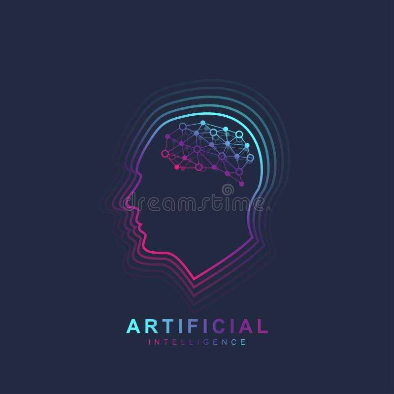 Inteligencia artificial y aprendizaje de máquina Logo Concept Esquema de la cabeza humana con el icono del cerebro Símbolo AI del ilustración del vector