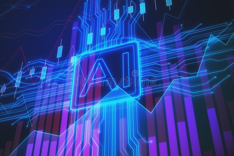 Inteligencia artificial y concepto com?n stock de ilustración