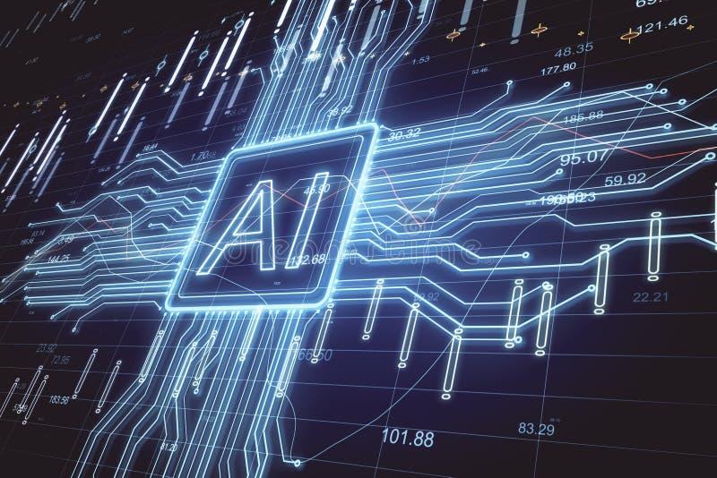 Inteligencia artificial y concepto del stats ilustración del vector