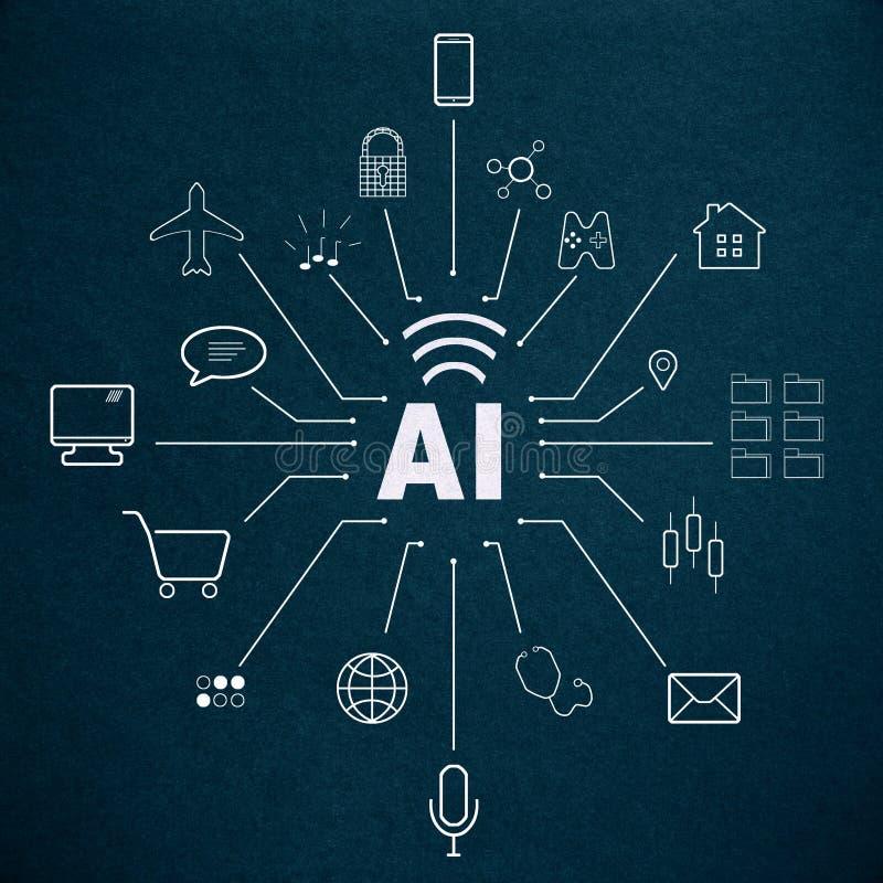 Inteligencia artificial y concepto elegante libre illustration