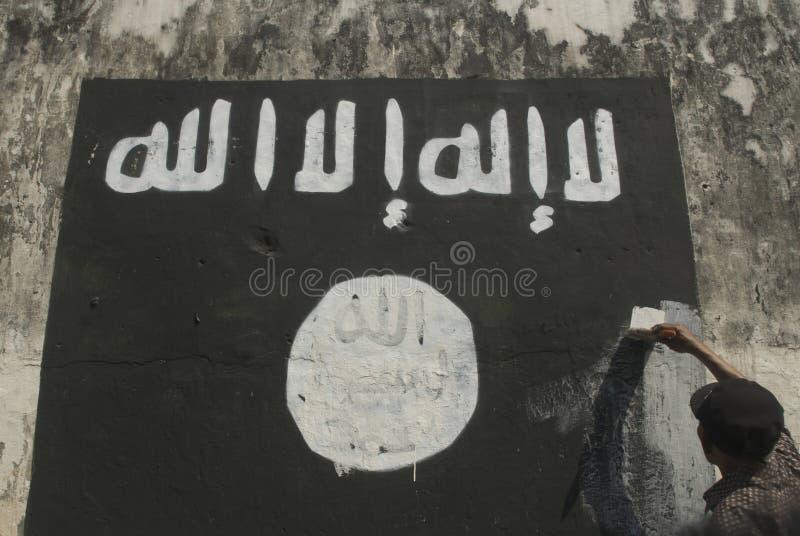 INTELIGENCIA INDONESIA DE MIRAR AL GRUPO EXTREMISTA EN PROBLEMAS DEL ESTADO ISLÁMICO fotos de archivo