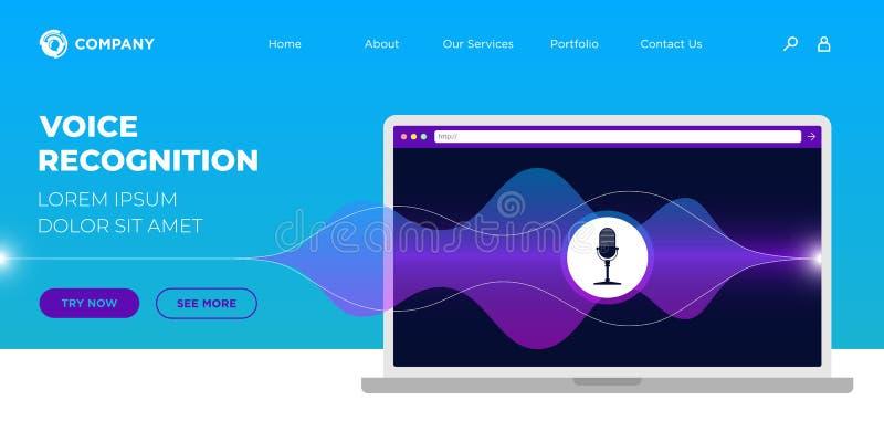 Inteligenciar modelo de design da Web da página inicial de reconhecimento de assistente de voz online pessoal da IU ou UX Tela do ilustração royalty free