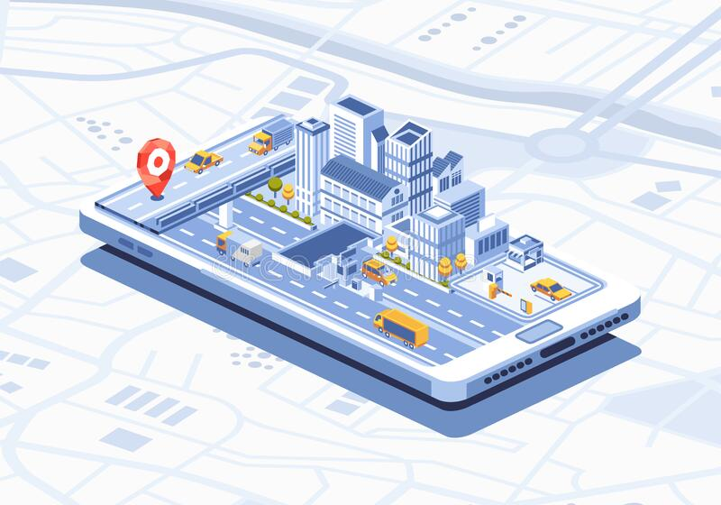 Inteligentne miasto — izometryczna aplikacja mobilna na ilustracji wektora smartfona zdjęcia royalty free