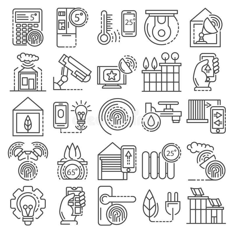 Inteligentny budynku systemu ikony set, konturu styl royalty ilustracja