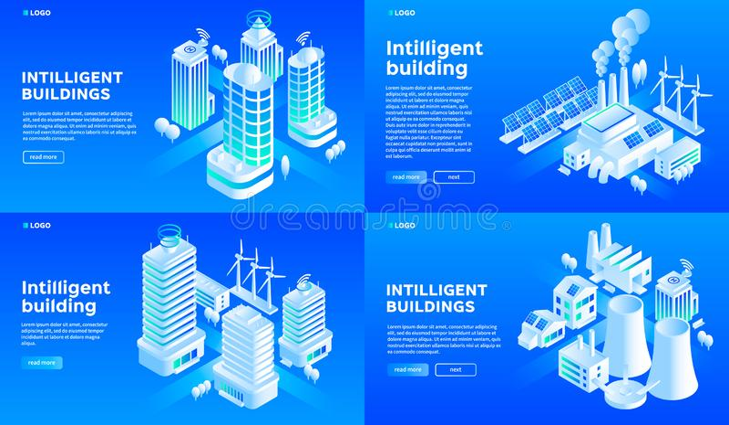Inteligentny budynku sztandaru set, isometric styl ilustracji