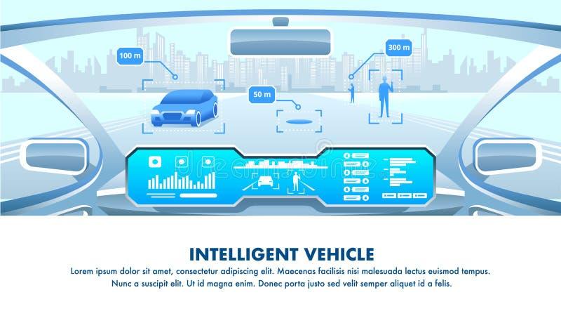 Inteligentny pojazdu kokpitu widok 10 tło projekta eps techniki wektor ilustracji