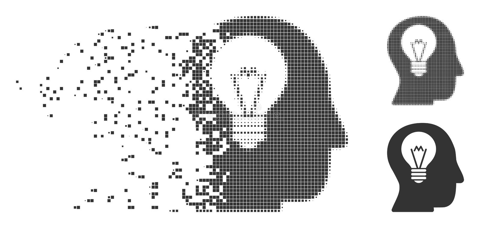 Intellect Bulb Fragmented Pixel Icon vector illustration