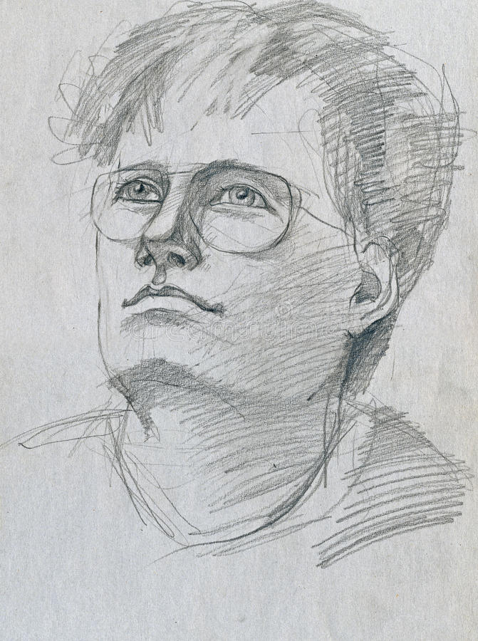 Intellectual. Pencil drawing, young man as intellectual stock illustration