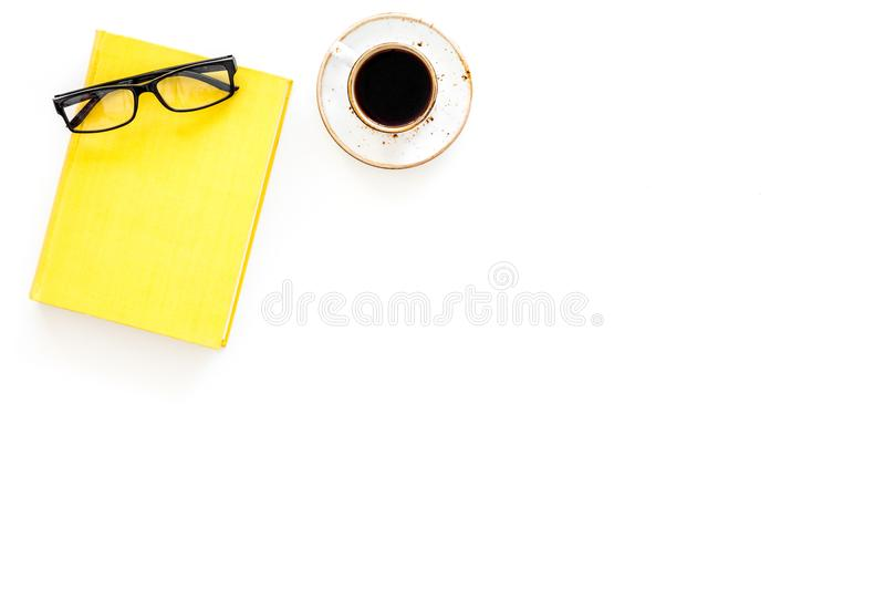 Intellectual entertainment concept. Books with empty cover near glasses, coffe, plant on white desk top view space for. Intellectual entertainment concept. Books royalty free stock photos
