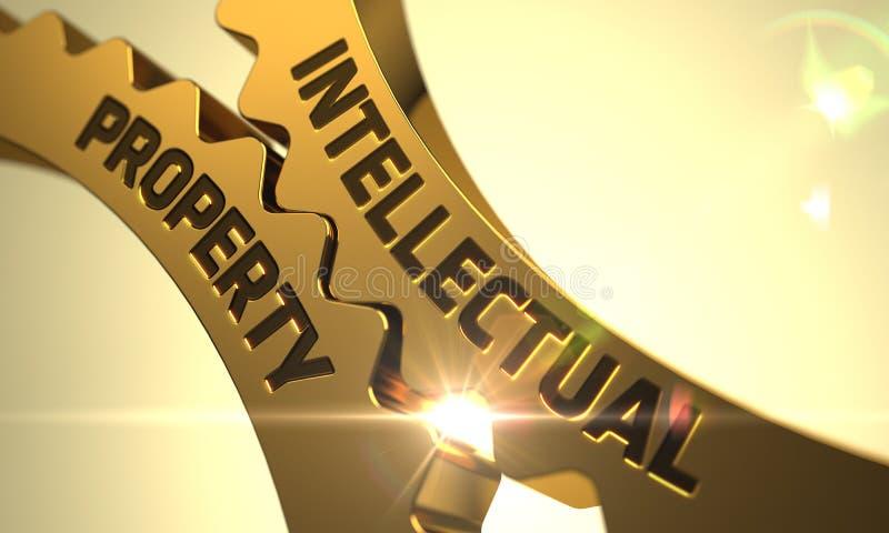 Intellectual Property Concept. Golden Cogwheels. 3D. Intellectual Property on Mechanism of Golden Metallic Cog Gears with Lens Flare. 3D vector illustration