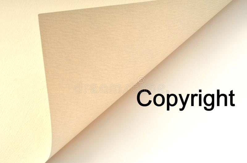 Copyright concept written on a sheet. Intellectual property concept with the word copyright written royalty free illustration