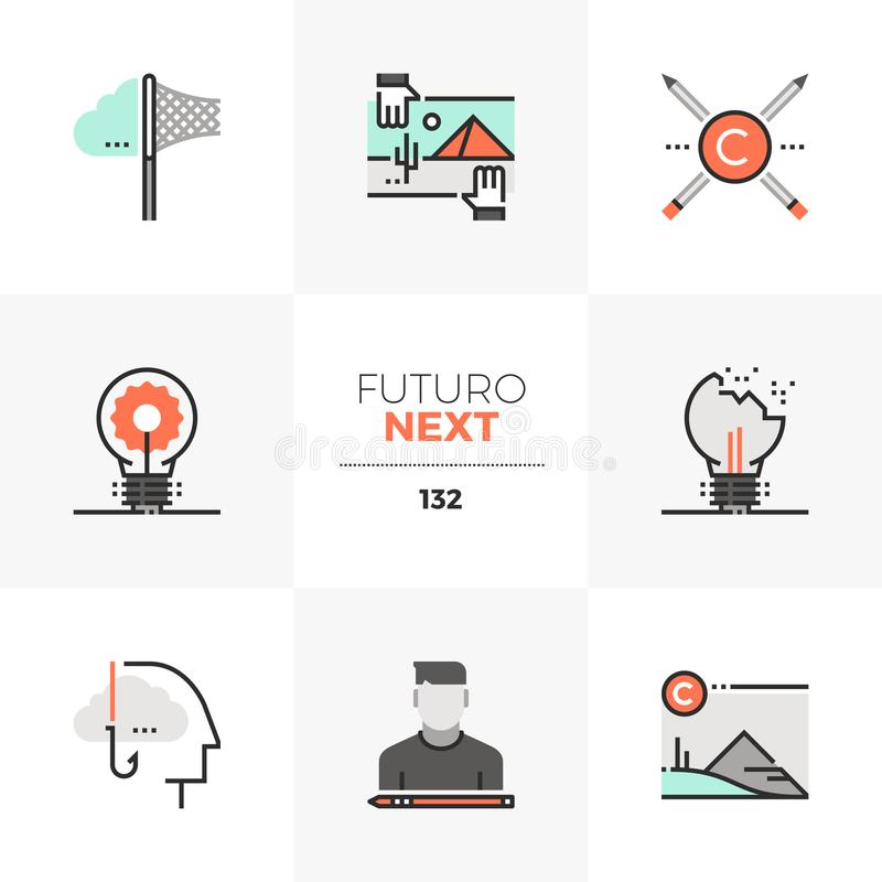 Intellectual Property Futuro Next Icons. Modern flat icons set of intellectual property rights, stealing ideas. Unique color flat graphics elements with stroke royalty free illustration