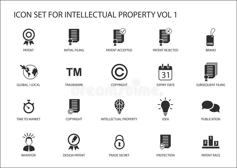 Intellectual property / IP icon set. Concept of patents, trademark and copyright stock illustration